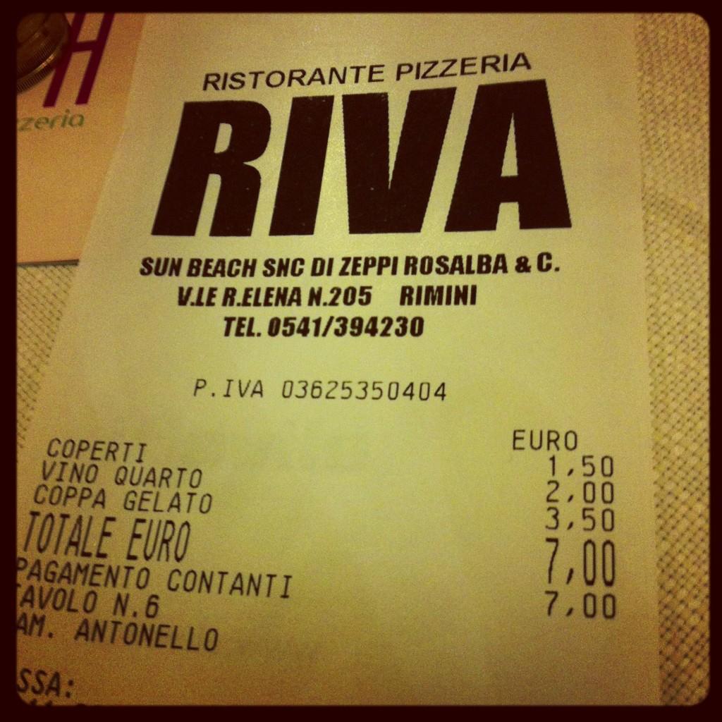 Стандартный счет в итальянском ресторане
